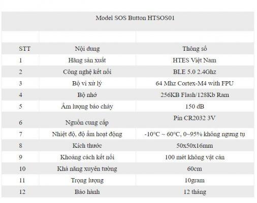 Thông tin kỹ thuật Nút ấn báo cháy khẩn cấp HTSOS01